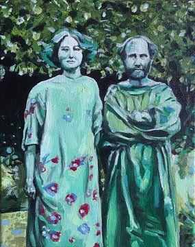 Gustav Klimt & Emilie Flöge van Helia Tayebi Art