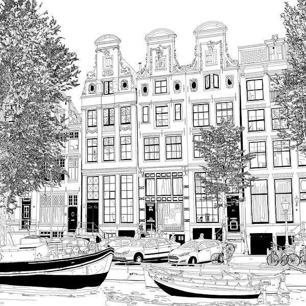 Tekening Herengracht 55-65 Amsterdam Pentekening Lijntekening van Hendrik-Jan Kornelis