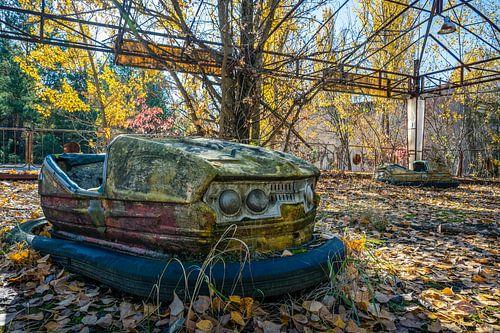 Botsauto attractie in pretpark van Pripjat