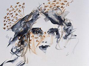 Aquarel vrouw met schermbloem abstract van Bianca ter Riet