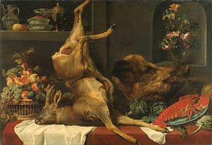Stilleven met groot dood wild, vruchten en bloemen, Frans Snijders