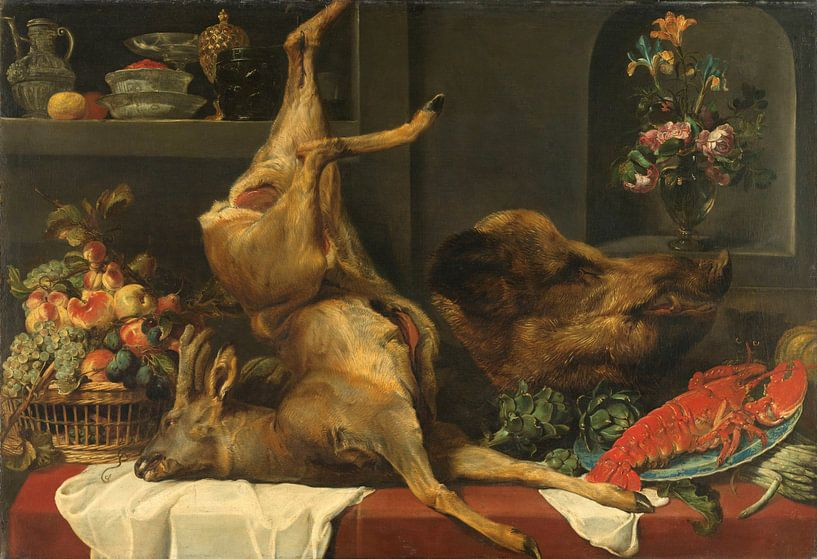 Stilleven met groot dood wild, vruchten en bloemen, Frans Snijders van Meesterlijcke Meesters