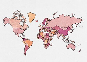 Weltkarte (umrandet, rot) von Studio Malabar