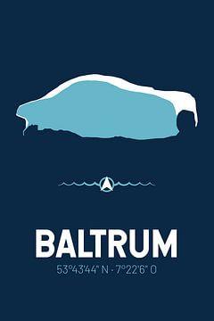 Baltrum | Design kaart | Silhouet | Minimalistische kaart van ViaMapia