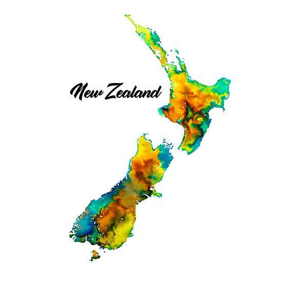 Kleurrijk Nieuw Zeeland | Landkaart in aquarel met landnaam | Geel en groen