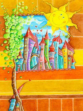 De lachende zon in Wonderland van