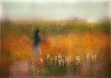 Een meisje en Bear gras, Shenshen Dou van 1x