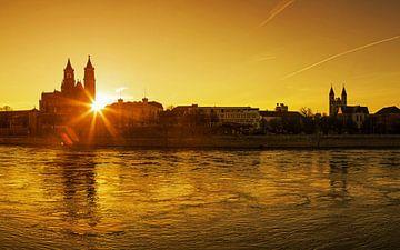 Magdeburg im Sonnenuntergang von Frank Herrmann