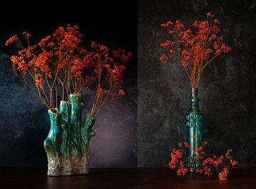Orange gypsophila in blue bottle / special vase.