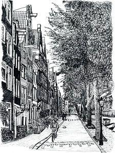 Strasse Zichnung  von Amsterdam Die Niederlande