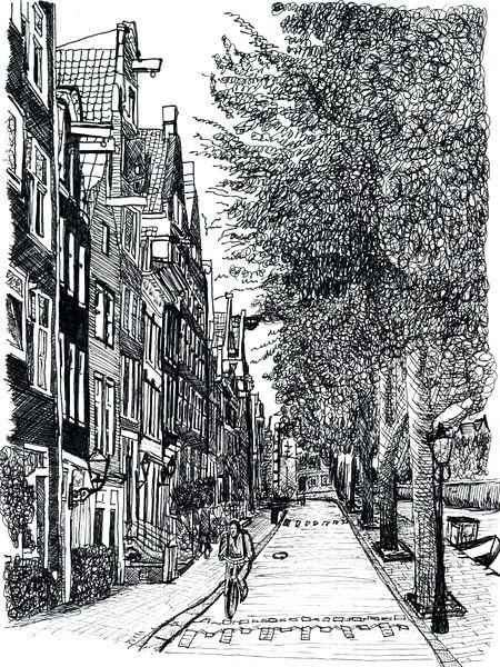 Strasse Zichnung  von Amsterdam Die Niederlande von Hendrik-Jan Kornelis