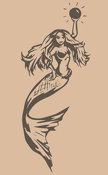Meerjungfrau mit Perle - beige taupe von Emiel de Lange