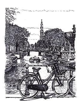 Zeichnung Prinsengracht Westertoren Amsterdam von Hendrik-Jan Kornelis