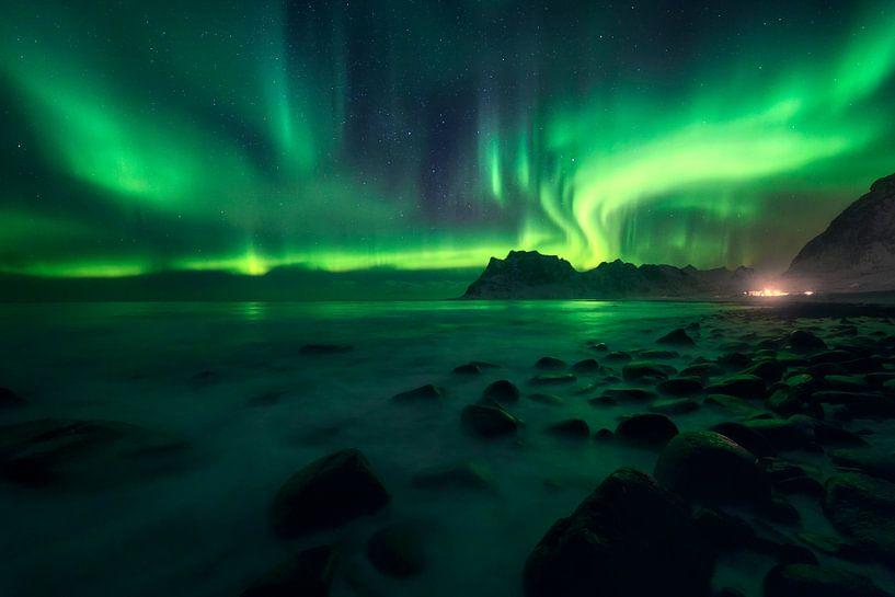 Het noorderlicht in Noorwegen van Sven Broeckx