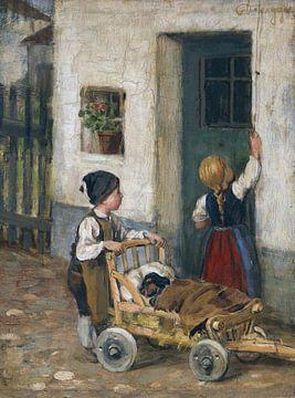 Der kranke Dackel, FRANZ VON DEFREGGER, Ca. 1890 von Atelier Liesjes