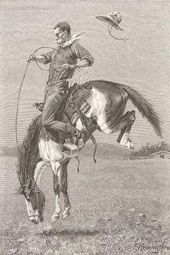 """Bokkend wild paard """"Bronco"""", 1888"""