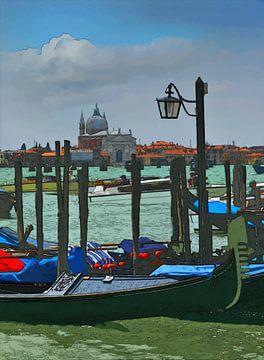 Venetië - Gondels - Italië van Dirk van der Ven