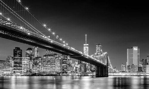 Brooklyn Bridge, New York (schwarz weiß) van Sascha Kilmer
