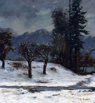 Schnee in einer Landschaft, Gustave Courbet, um 1875 von Atelier Liesjes