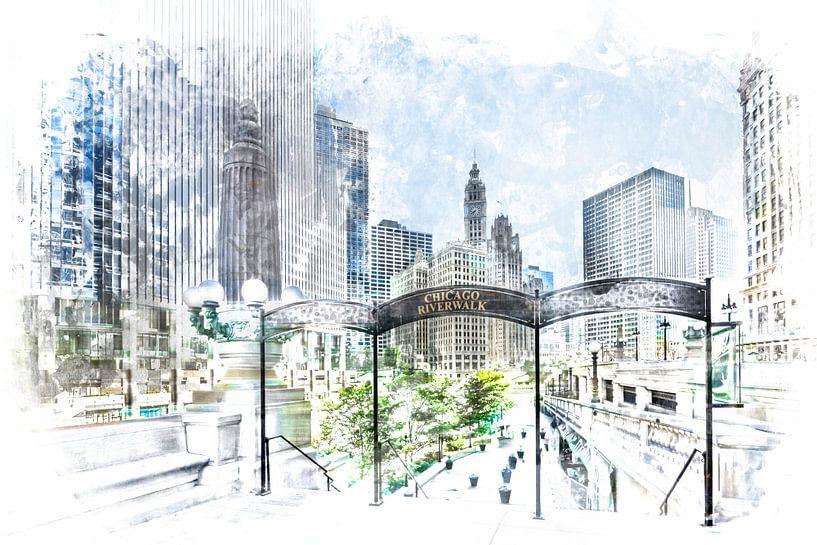 City-Art CHICAGO Downtown View von Melanie Viola