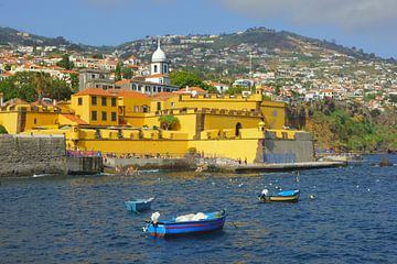 Bootjes in de Atlantische Oceaan in Funchal, Madeira van Michel van Kooten