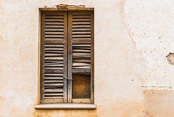 Vieux volets de fenêtre endommagés et fond de mur grunge sur Alex Winter