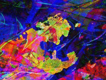 Modern, Abstract Digitaal Kunstwerk in Oranje, Geel, Blauw, Paars van Art By Dominic