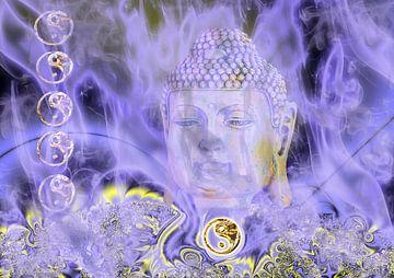 Buddha hinter blauem Nebel sur Rosi Lorz