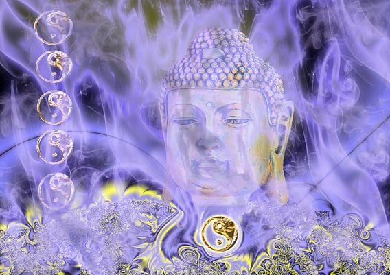 Buddha hinter blauem Nebel