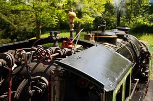 Cab of a historic steam train