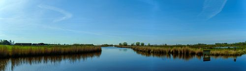 Breed panorama op het landschap in de Eilandspolder, Noord Holland