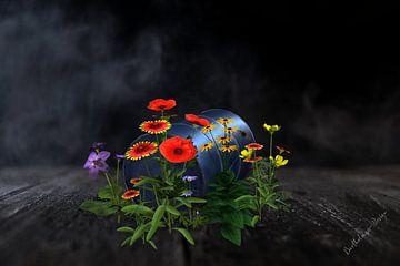 3d-Illustration. Blühendes Fass ohne Boden. von Norbert Barthelmess