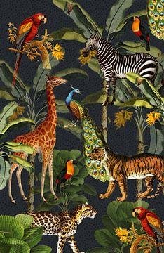 Jungle met tijger en tropische planten, zebra, giraffe en toekan von Studio POPPY