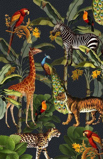 Jungle met tijger en tropische planten, zebra, giraffe en toekan