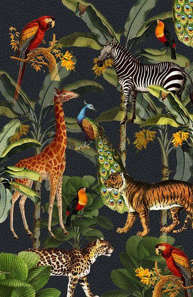 Jungle met tijger en tropische planten, zebra, giraffe en toekan van Studio POPPY