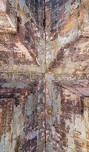 Kruis, verbinding in plafondgewelf van een tempel, Cambodja van
