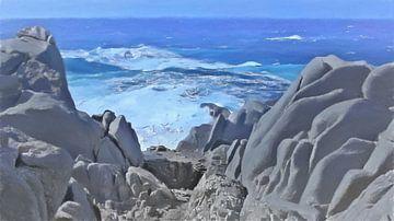 Sardinien - Blick von der felsigen Küste - Capo Testa Italien - Gemälde von Schildersatelier van der Ven
