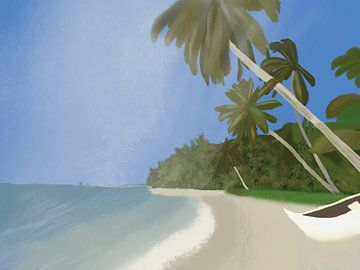 Strand Ile Sainte Marie, Madagaskar, Afrika, Illustration von Piev