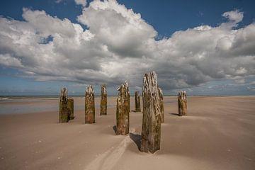 palen op het strand von Contrast inBeeld