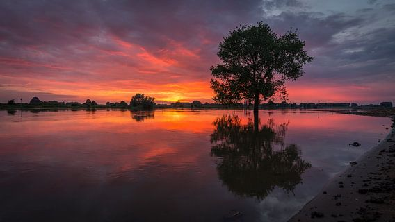 Zonsondergang aan de IJssel in Wijhe van Edwin Mooijaart