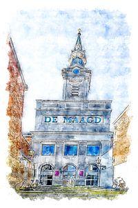 Das Theater Die Jungfrau in Bergen op Zoom (Aquarell)