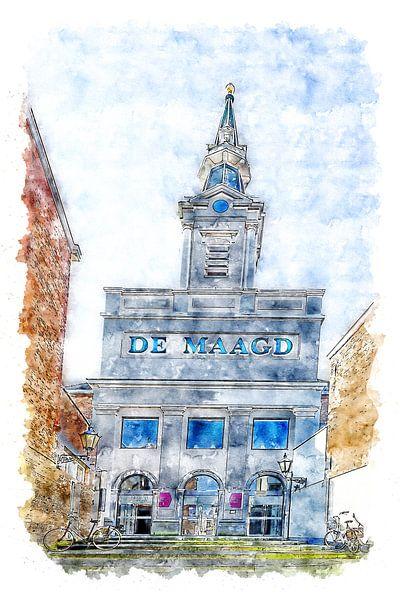 Das Theater Die Jungfrau in Bergen op Zoom (Aquarell) von Art by Jeronimo