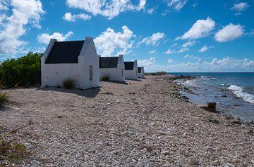 Witte slavenhuisjes op het eiland Bonaire van Alie Messink