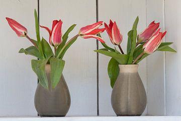 Tulpenvasen in einem Brocante-Schrank im Garten von J..M de Jong-Jansen