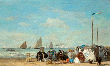 de strand Scène in Trouville, Eugène Boudin