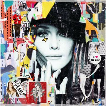 Motiv Carla Bruni - Dadaismus Nonsens _ Collage - French BFF von Felix von Altersheim