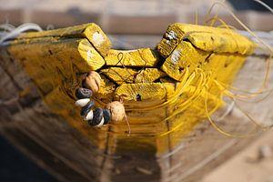 Versiering houten vissersboot van Johan Michielsen