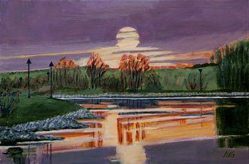 Zonsondergang Gelderse IJssel van Antonie van Gelder Beeldend kunstenaar