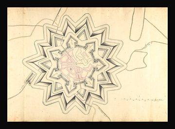 Alte Karte der befestigten Stadt Coevorden aus der Zeit um 1710. von Gert Hilbink