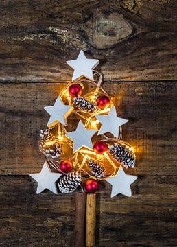 Verlichte kerstboomdecoratie met ornamenten, dennenappels van Alex Winter